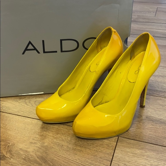 Bright Yellow Patent Leather Pumps